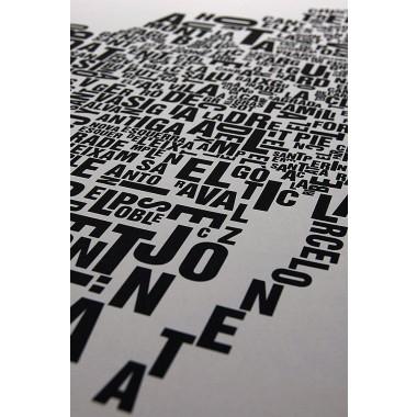 Buchstabenort Barcelona Stadtteile-Poster Typografie