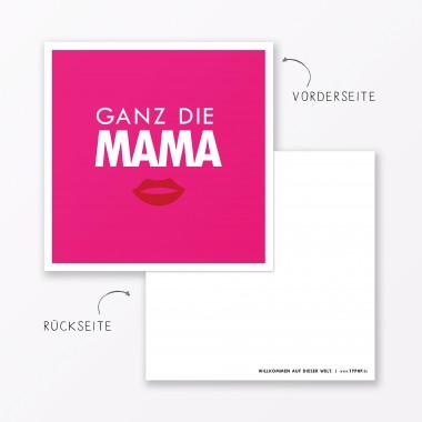 """TYPOP 2-teiliges Set Design BABYKARTE """"Ganz die Mama"""" Pink quadratisch inkl. Umschlag"""