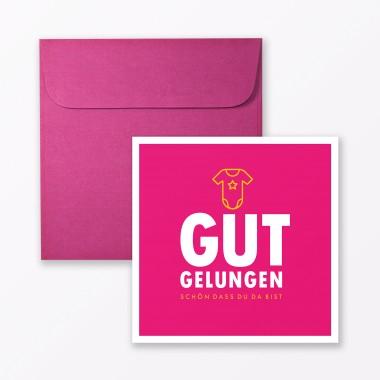 """TYPOP 4-teiliges Set Design BABYKARTE """"Gut gelungen"""" Türkis + Pink quadratisch inkl. Umschlag"""
