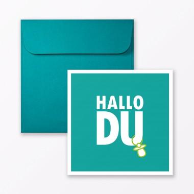 """TYPOP 4-teiliges Set Design BABYKARTE """"Hallo Du"""" Türkis + Pink quadratisch inkl. Umschlag"""