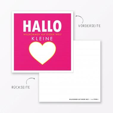 """TYPOP 2-teiliges Set Design BABYKARTE """"Willkommen auf dieser Welt"""" Pink quadratisch inkl. Umschlag"""