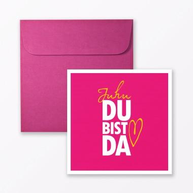 """TYPOP 4-teiliges Set Design BABYKARTE """"Juhu Du bist da"""" Türkis + Pink quadratisch inkl. Umschlag"""