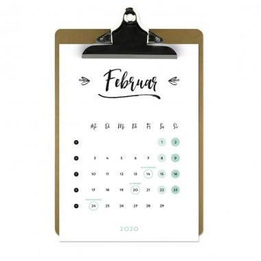 Jahresplaner 2020 mit Klemmbrett   Farbe: Mint