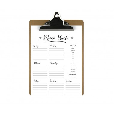 Handlettering Wochenplaner Kalender Klemmbrett / Aprikot