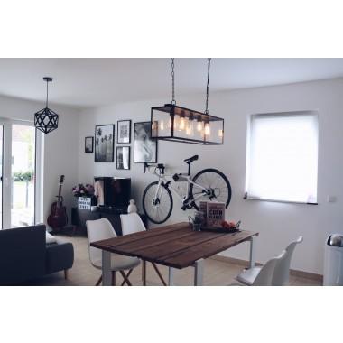 Stilvolle Design Fahrrad Wandhalterung | PARAX® D-RACK | für Rennrad, Hardtail, Cityrad & Tourenrad | Silber-Schwarz mit Oliven Holz