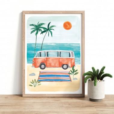 """Paperlandscape   Kunstdruck """"Bulli am Strand""""   VW Bulli   Camper   Reisen   verschiedene Größen"""