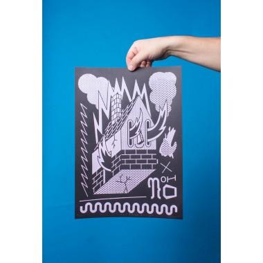 Martin Krusche - Siebdruck »Burning House« DINA3 (29,7x42cm)