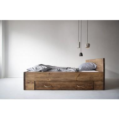 FraaiBerlin Bauholz Bett Changy mit 2 Bettkästen groß