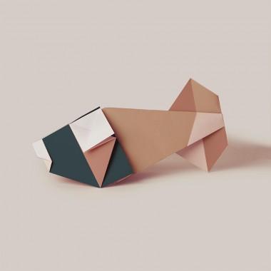 Origami Poster Goldfisch, mehrfarbig, von Christina Pauls
