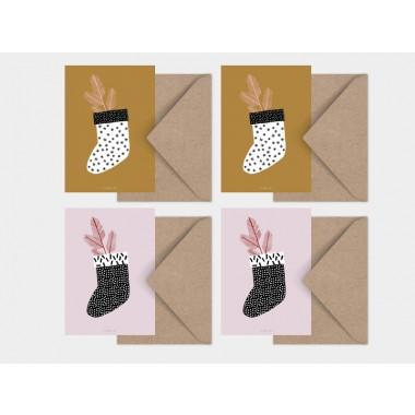 typealive / Weihnachtskarten 4er Set / Christmas Stocking