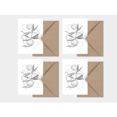 typealive / Weihnachtskarten 4er Set / Clementines