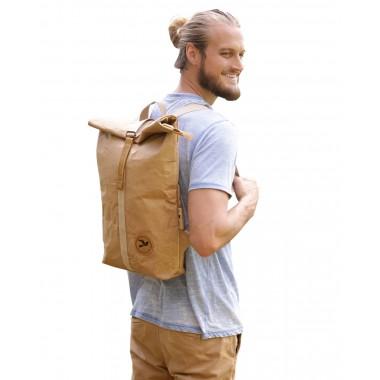 Neu PAPERO ® Rucksack - Cougar -aus Kraft Papier ♻, robust, wasserfest,   Unisex, ultraminimalistisch, veganes Leder, Urban Style, rolltop, nachhaltig, recycelbar mit FSC Siegel