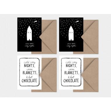typealive / Weihnachtskarten 4er Set / Cozy Nights