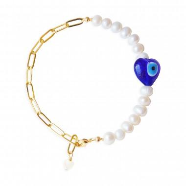Valerie Chic - EVIL EYES Perlen Armband - 18 Karat vergoldet