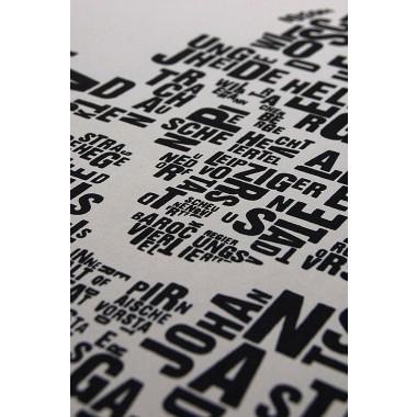 Buchstabenort Dresden Stadtteile-Poster Typografie