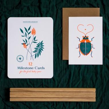 """Geschenkset """"Wild Flower"""" zur Geburt / Meilensteinkarten / passende Bilderleiste aus Eiche Glückwunschkarte / Risographie Art Print"""