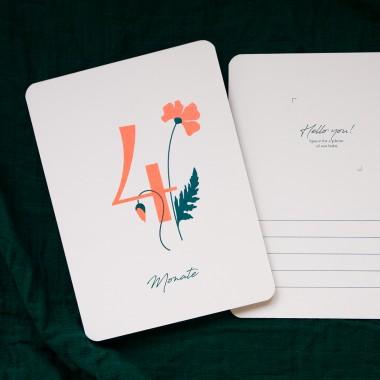 """Baby Meilensteinkarten """"Wild Flower"""" für die ersten 12 Monate / Risographie Art Print / neon-orange"""