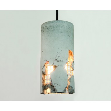 LJ LAMPS delta - moderne Hängeleuchte aus Beton mit Textilkabel