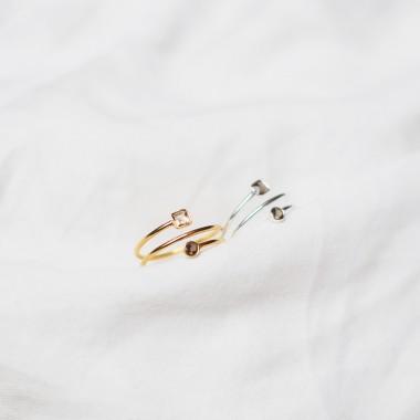 iloveblossom Double Bubble Smoky Helix Ring // silber