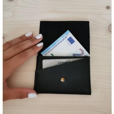 BSaite / Schwarzes Mini Leder Portemonnaie / kleine Leder Geldbörse / Leder Kartenetui