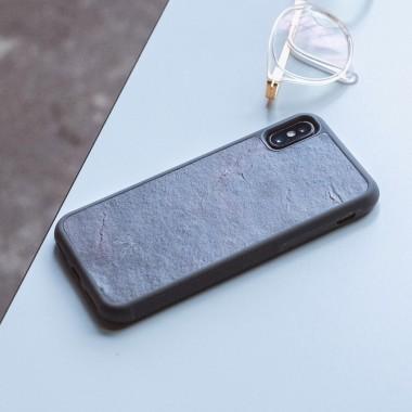 Woodcessories - EcoBump Stone - Premium Design Hülle, Case, Cover, Backcover für das iPhone X(s) aus hochwertigem Stein (Volcano Schwarz, Camo Grau, Canyon Rot)