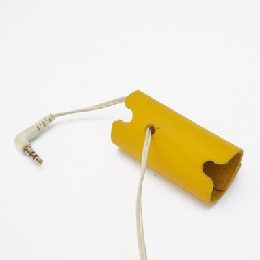 Kopfhörer, Headset Organizer, Tasche, Kopfhörertasche, Leder Gelb