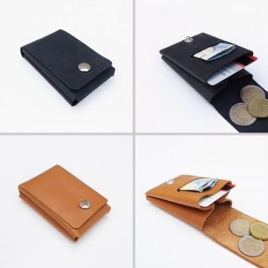 EINFACHDESIGN, Geldbörse mini, Leder, handgenäht, viele Farben