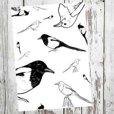 "playfulsolutions Notizheft mit Vogel Illustration""Elster"""