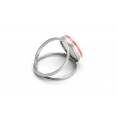 "Eva Slotta Jewellery ""Tint Deep"" Ring mit rostrotem Achat, 925 Silber"