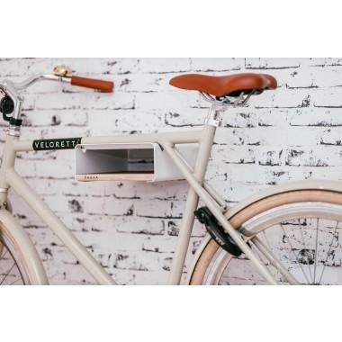Design Fahrrad-Wandhalterung   PARAX® S-RACK   Weiß mit Birken Holz   für Rennrad Hardtail & Cityrad
