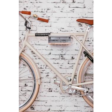 Design Fahrrad-Wandhalterung S-RACK | Weiß mit Holz Schwarz | für Rennrad Hardtail & Cityrad | Fair in Deutschland gefertigt