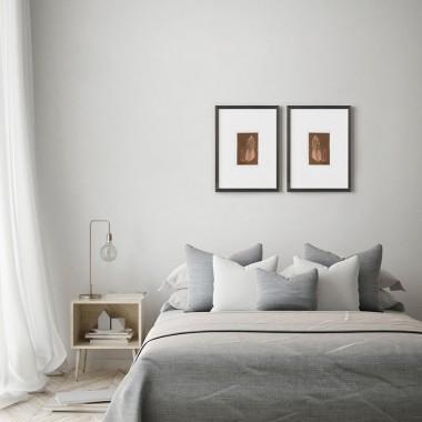 Federbild Paar auf Kupfer, 30x40 cm von Christina Pauls