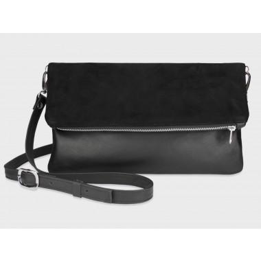 Foldover-Tasche Finja mit Umhängeriemen - Schwarz/Velour aus Leder