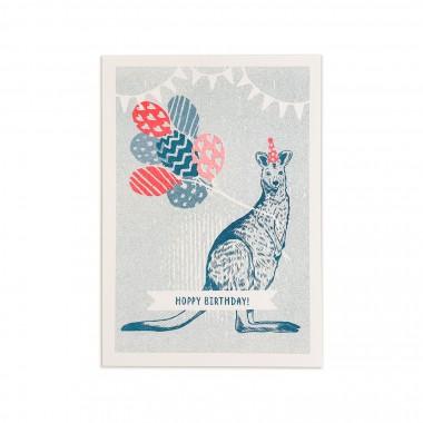 Feingeladen // LOVELY BEASTS // Kangaroo »Hoppy Birthday!« (TLFR) // RISO-Klappkarte, A6