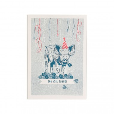 Feingeladen // LOVELY BEASTS // Piggy »Sau viel Glück!« (TLFR) // RISO-Klappkarte, A6
