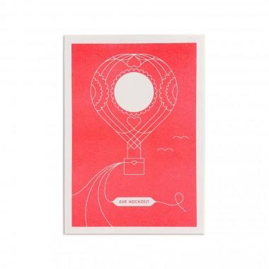 Feingeladen // ROUNDABOUT // Heißluftballon »Zur Hochzeit« (FR), RISO-Klappkarte, A6