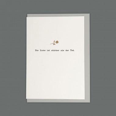 Feingeladen // MAGIC WORDS // »Die Liebe ist stärker als der Tod« (BKGD) // RISO-Klappkarte, A6