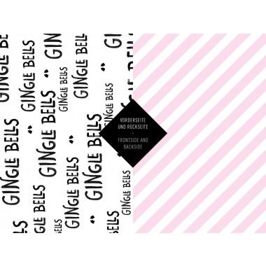 5x Geschenkpapier / Gingle Bells (gefaltet)