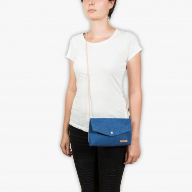 RÅVARE Schicke Umhängetasche mit 2 Tragemöglichkeiten, Clutch & Gürteltasche, kleine Handtasche, Abendtasche in blau-beige [GJOKO]