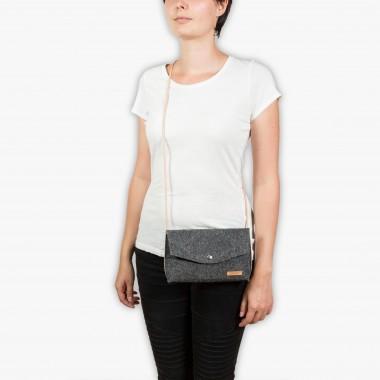 RÅVARE Schicke Umhängetasche mit 2 Tragemöglichkeiten, Clutch & Gürteltasche, kleine Handtasche, Abendtasche in grau-orange [GJOKO]