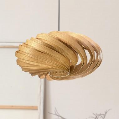 Gofurnit Hängeleuchte 'Veneria' aus Eichenholz, handgefertigt in Köln