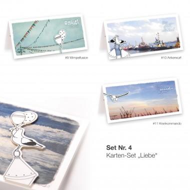 Frau Schnobel Grafik 3D-Grußkarten aus Naturpapier (3er-Set )