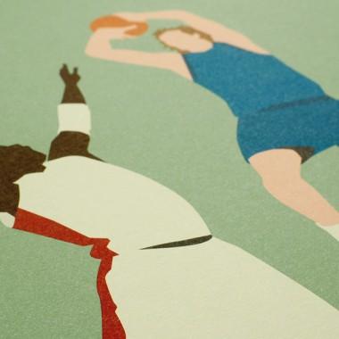 """Flamingo Fade-Away"" Basketballposter von HANDS OF GOD"