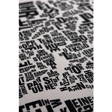 Buchstabenort Hamburg Stadtteile-Poster Typografie