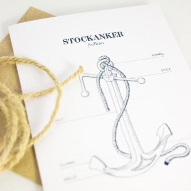 Bow & Hummingbird Grußkarten Seemannsknoten, Stockanker und Papierschiffchen