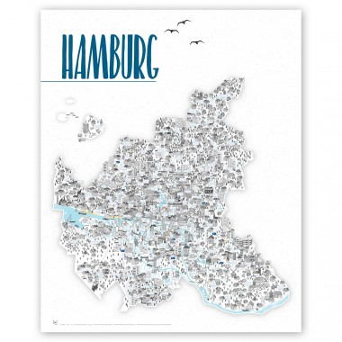 Rapü Design Hamburg Artprint, Hamburg Poster, Hamburg Karte, inkl. Posterleiste