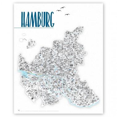 Rapü Design Hamburg Karte, Hamburg Poster, Hamburg Artprint