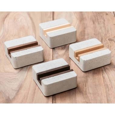 WOOD U? Halter / Halterung für iPhone, Smartphone und Handy aus Beton und Holz