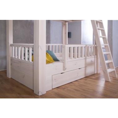FraaiBerlin - Bauholz Hochbett für Kinder White wash - 201 x 209,5 cm x 121
