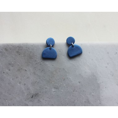 Skelini - Geometrische Porzellanohrringe, kobalt blau